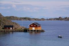 Fishing house on Lofoten. Reine, picturesque fishing village on Lofoten, Norway Royalty Free Stock Photography