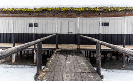Fishing house and pontoon Stock Image