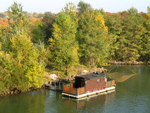 Fishing houseboat on Danube Vienna stock image
