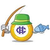 Fishing Hshare coin mascot cartoon. Vector illustration Stock Image