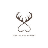 Fishing and hunting illustration with deer horns and fishing Stock Photos