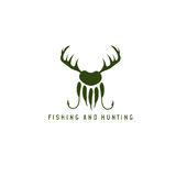 Fishing and hunting illustration with deer horns,paw of bear Stock Photos