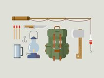 Fishing Hunting Items Flat Design Stock Photos