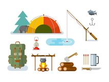 Fishing Hunting Items Flat Design. Fishing hunting concept flat vector icon set Royalty Free Stock Images