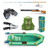 Fishing and hunting objects Stock Image