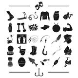Fishing, hunting, recreation and other web icon in black style. sport, health, competitions icons in set collection. Stock Photos