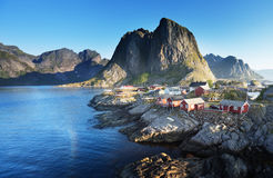 Fishing hut  in the Hamnoy - Reine, Lofoten islands, Norway Stock Photography
