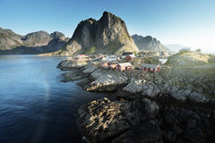 Fishing hut  in the Hamnoy - Reine, Lofoten islands, Norway Royalty Free Stock Images