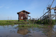 Fishing hut made from zinc corrugated sheets Stock Image