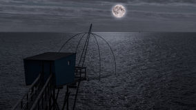 Fishing hut at night Stock Photos