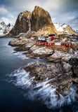 Fishing hut in Reine, Lofoten islands. Winter landscape in the Lofoten islands, Raine, Norway stock photo