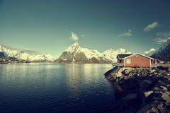 Fishing hut at spring day - Reine, Lofoten islands Royalty Free Stock Images