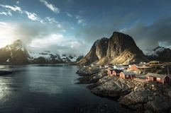 Fishing hut at spring sunset - Reine, Lofoten islands Stock Photo