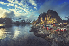 Fishing hut at spring sunset - Reine, Lofoten islands Royalty Free Stock Images