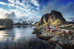 Fishing hut at spring sunset - Reine, Lofoten islands, Norway Stock Photography