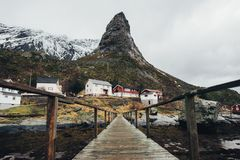 Scenic aerial view of fishing town Reine on Lofoten islands, Nor royalty free stock photo