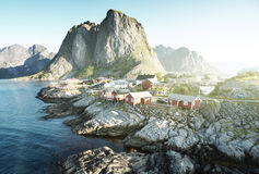 Fishing hut at summer time - Reine, Lofoten Stock Photos