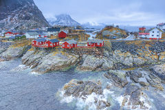 Fishing Hut Village in Hamnoy During Early Spring Time in Lofoten Islands Royalty Free Stock Images
