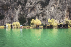 Fishing huts on the banks of the river Cetina near town of Omis inCroatia stock photos