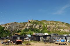 Fishing huts and boats, East Hill, Hastings Royalty Free Stock Photography