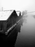 Fishing huts on lake Royalty Free Stock Photo