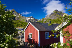 Fishing huts in Nusfjord Stock Photo
