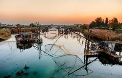 Free Fishing Huts On Port Milena Near Ulcinj City, Montenegro Stock Images - 63210564