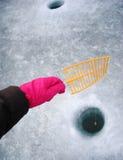 Fishing on ice Stock Photography