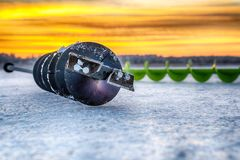 Fishing ice auger stock image