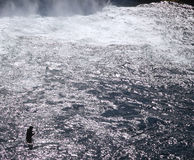 Fishing Iceland. Solitary fisherman at waterfall Iceland Stock Photo