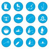 Fishing icon blue Royalty Free Stock Images