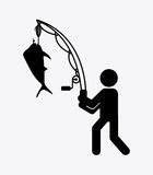 Fishing icon Royalty Free Stock Images