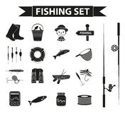 Fishing icon set, black silhouette, outline style. Fishery collection objects, design elements, isolated on white. Background. Vector illustration, clip-art Stock Image