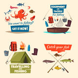 Fishing icon set with boat, tackle and fish catch. Fishing sport and traveling, fish catch, fisherman equipment cartoon icon. Fishing boat with spinning rod and Stock Photos