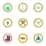 Fishing icon set, cartoon style. Fishing icon set. Cartoon set of 9 fishing vector icons for web isolated on white background Royalty Free Stock Photos