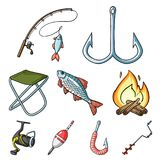 Fishing icon in set collection on cartoon style vector. Summer and winter fishing, outdoor recreation, fishing, fish.Fishing icon in set collection on cartoon Stock Photos
