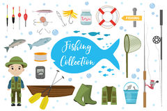 Fishing icon set, flat, cartoon style. Fishery collection objects, design elements,  on white background Royalty Free Stock Image