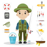 Fishing icon set, flat, cartoon style. Fishery collection objects, design elements,  on white background Royalty Free Stock Images