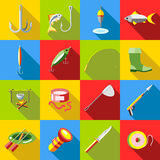 Fishing icon set, flat style Stock Photos