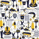 Fishing icon set. seamless pattern Royalty Free Stock Photos