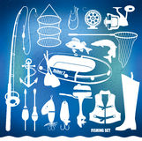 Fishing icon set Stock Image