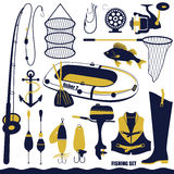 Fishing icon set Royalty Free Stock Photo
