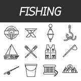 Fishing icon set Stock Photos