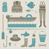 Fishing icons Stock Images
