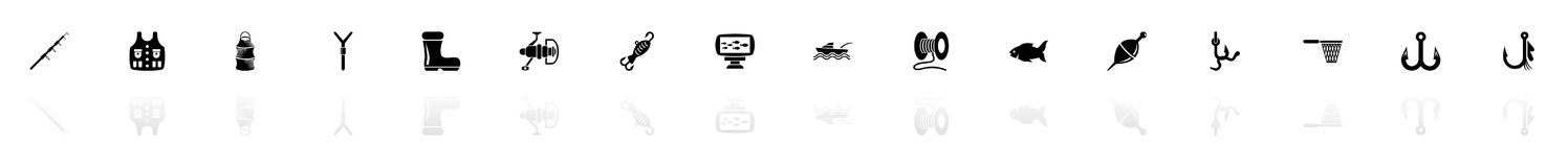 Fishing - Flat Vector Icons. Fishing icons - Black horizontal Illustration symbol on White Background with a mirror Shadow reflection. Flat Vector Icon Stock Photo