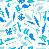 Fishing icons blue and white pattern Royalty Free Stock Photography