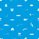 Fishing icons blue and white seamless pattern Stock Photo