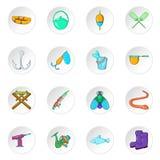 Fishing icons, cartoon style. Fishing icons set. Cartoon illustration of 16 fishing icons for web vector illustration
