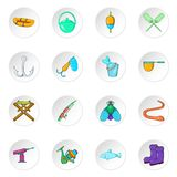 Fishing icons, cartoon style Royalty Free Stock Photo