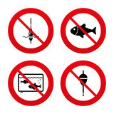 Fishing icons. Fish with fishermen hook symbol. No, Ban or Stop signs. Fishing icons. Fish with fishermen hook sign. Float bobber symbol. Aquarium icon Royalty Free Stock Photos